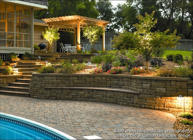 Pool patio renovation terraced walls nighttime for Pool design mn