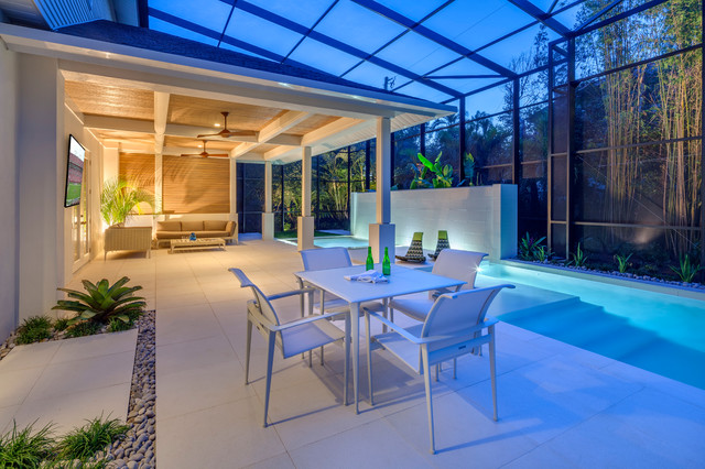 Pool patio renovation with pavilion contemporary-patio