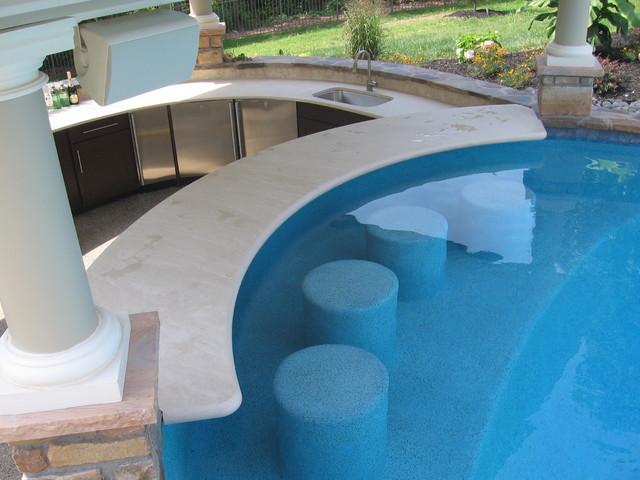 pool pool house and swim up bar contemporain terrasse et patio philadelphia par pebble. Black Bedroom Furniture Sets. Home Design Ideas