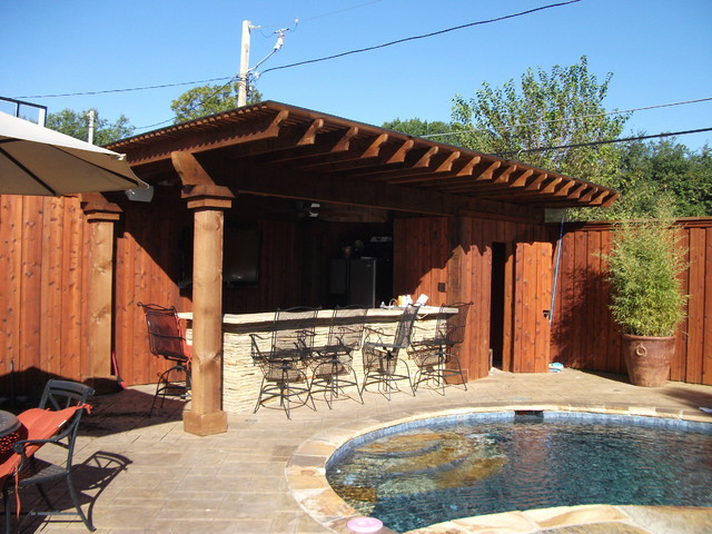 Pool renovation with new hot tub fire pit and cabana bar for Outdoor cabana designs