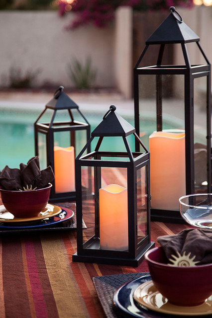 Pool side outdoor lanterns with flameless candles for Decorating outdoor lanterns