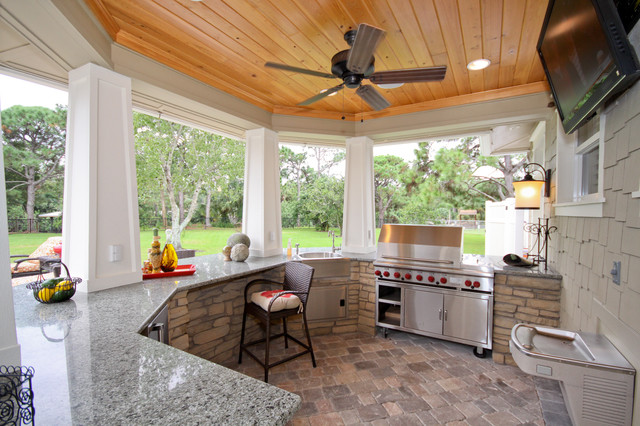 Tuscan Patio Kitchen Photo In Orlando With A Gazebo