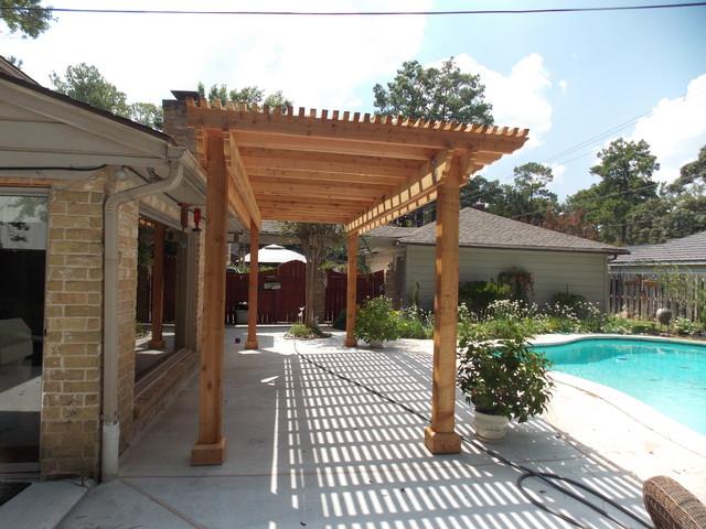 Poolside Cedar Pergola On Concrete Slab Rustic Patio