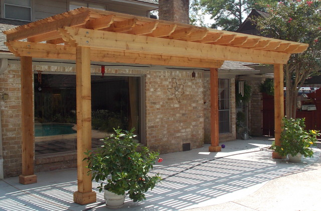 Poolside cedar pergola on concrete slab rustic-patio - Poolside Cedar Pergola On Concrete Slab - Rustic - Patio - Houston