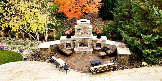Backyard Paradise: Poolside Fireplace From Balcony