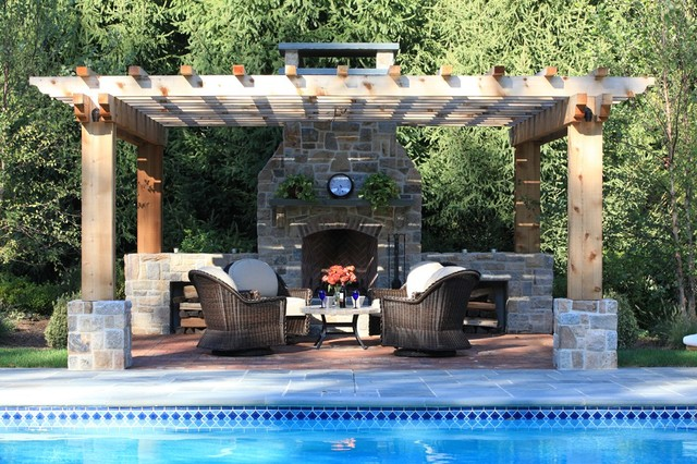 Poolside Fireplace, patio and pergola traditional-patio