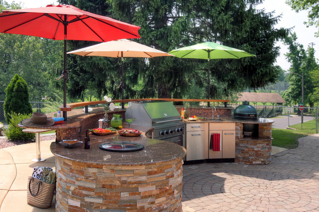 Poolside Outdoor Kitchen Contemporary Patio St Louis