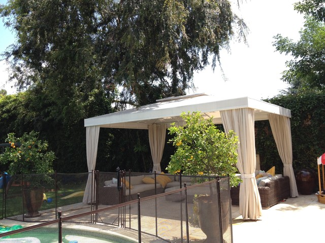 Poolside White Cabana With Four Curtains Traditional Patio