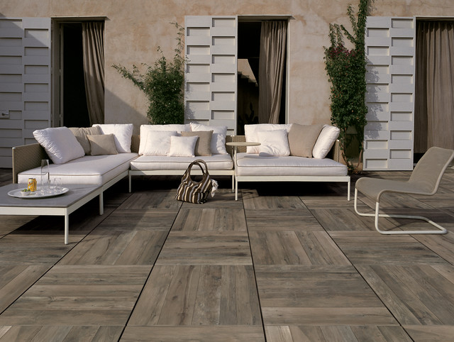 porcelain patio pavers featuring a simulated wood look - 'nut