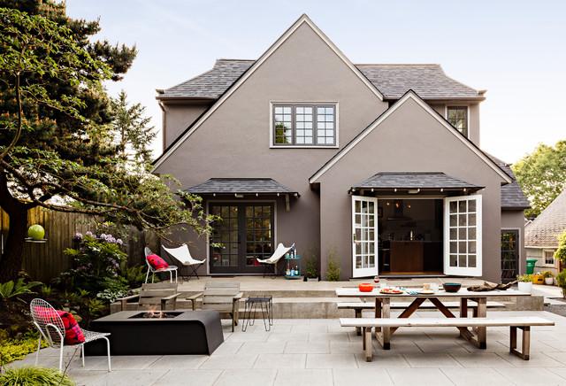 Modern Tudor Homes portland modern tudor landscape - contemporary - patio - portland