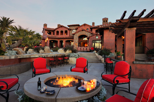 mediterranean patio Fire Pit, Hot Tub, Or... Both?