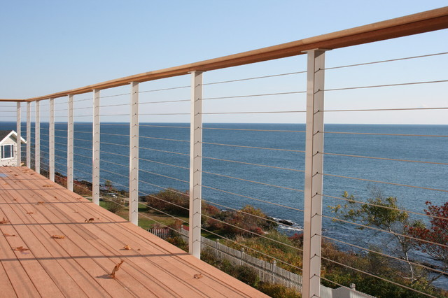 Pre Made Cable Railing Posts Beach Style Patio San