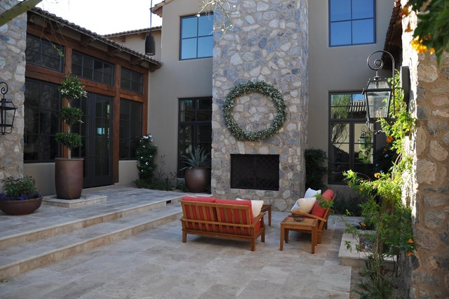 Walnut Travertine Pavers - Mediterranean - Patio - other ... on Travertine Patio Ideas id=85883