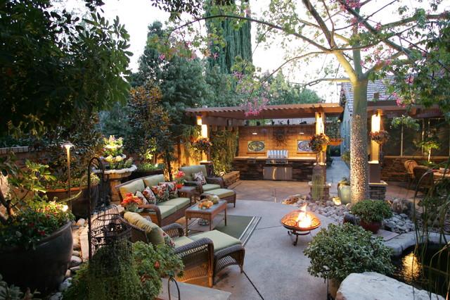 Patio Fountain   Traditional Patio Fountain Idea In Los Angeles With A  Pergola