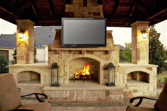Prosper Tx Cabana Amp Fireplace Rustic Patio Dallas