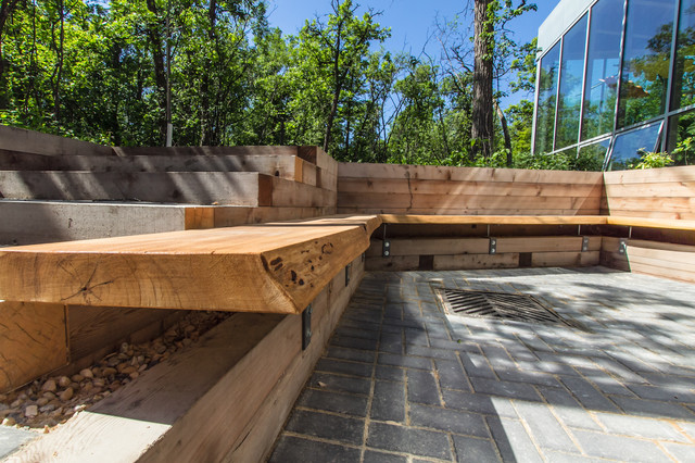 Qualico Family Centre Patio Assiniboine Park Modern Outdoor Benches Other Metro By Wood