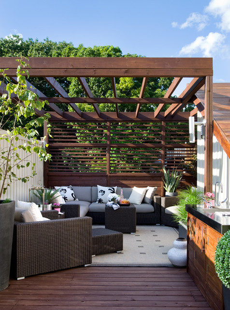 Queen street rooftop after contemporary patio for Pergola images houzz