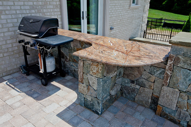 Rainforest brown outdoor bar amp grill area modern patio