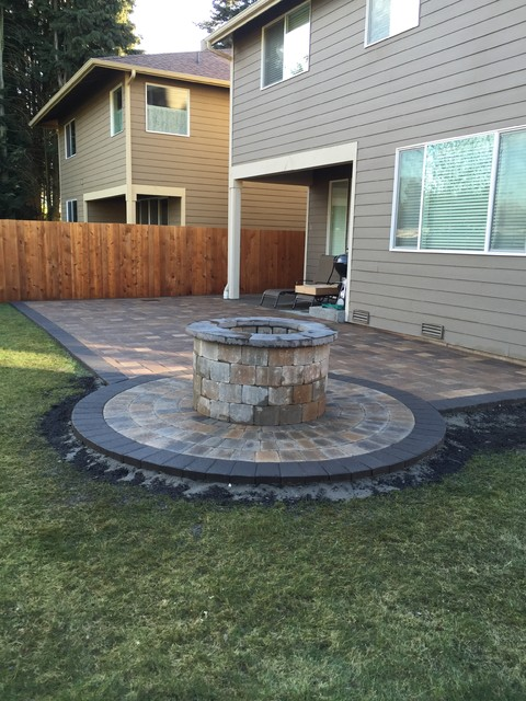 Raised fire pit and patio build tukwila wa for Fireplace on raised deck
