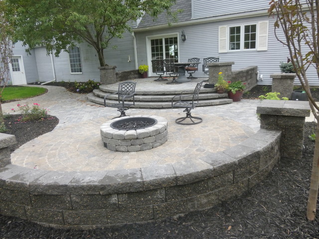 Raised patio fire pit and path tilden ne for Fireplace on raised deck
