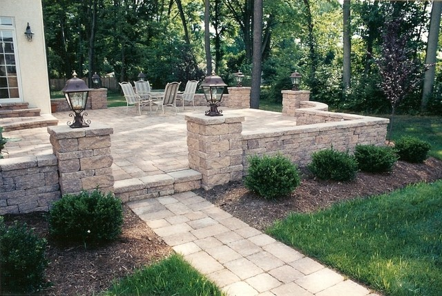 Awesome Raised Patio With Walkway, Sitting Walls And Pillars With Lights  Traditional Patio