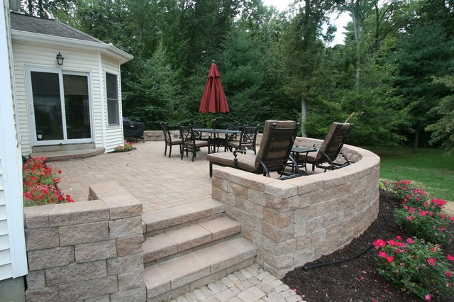 Mid Sized Contemporary Backyard Concrete Paver Patio Idea In Boston