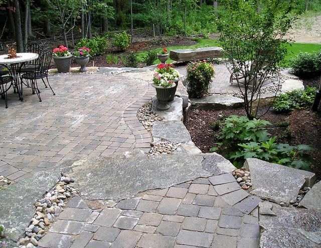 Raised Stone Patio Eclectic Patio
