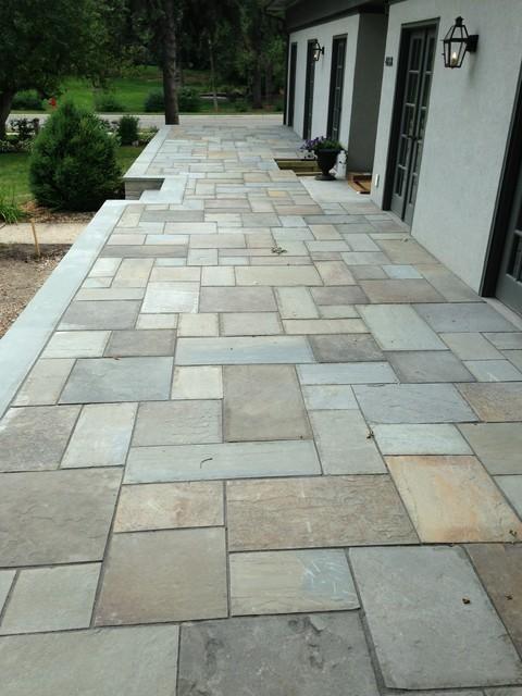 Raised Patio With Steps: Raised Terrace Bluestone Patio In Edina