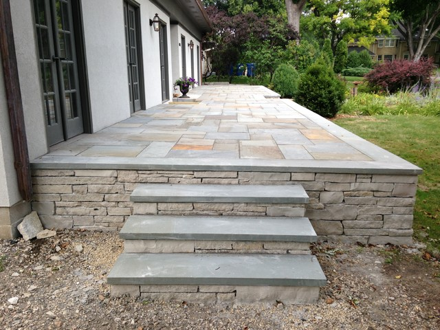 Raised terrace bluestone patio in edina traditional - How to build an outdoor kitchen a practical terrace ...