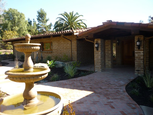 Rancho santa fe adobe hacienda traditional patio san for Adobe hacienda house plans
