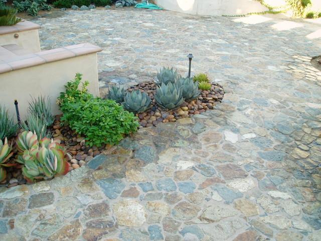 Rancho Santa Fe, Lilian Rice, courtyard, row home, field stone succulents, fount mediterranean-patio