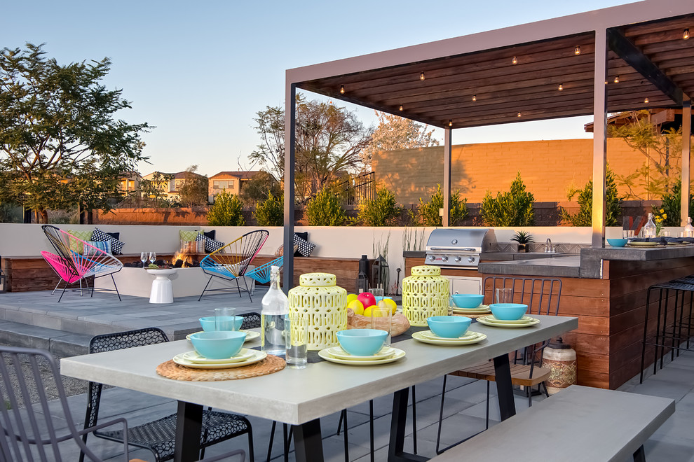 Patio kitchen - contemporary patio kitchen idea in San Diego with a gazebo