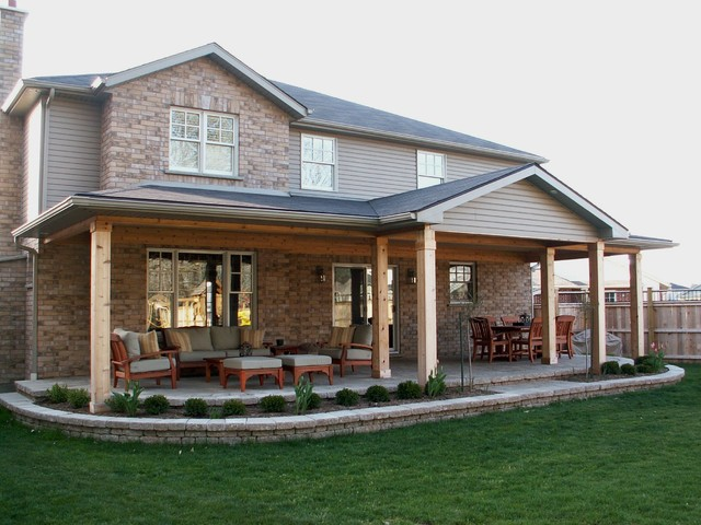 Great Rear Covered Porch Traditional Patio