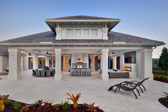 Rear Elevation Traditional Patio Miami By Weber
