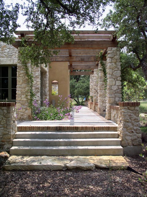 rear terrace and pergola mediterranean patio austin. Black Bedroom Furniture Sets. Home Design Ideas