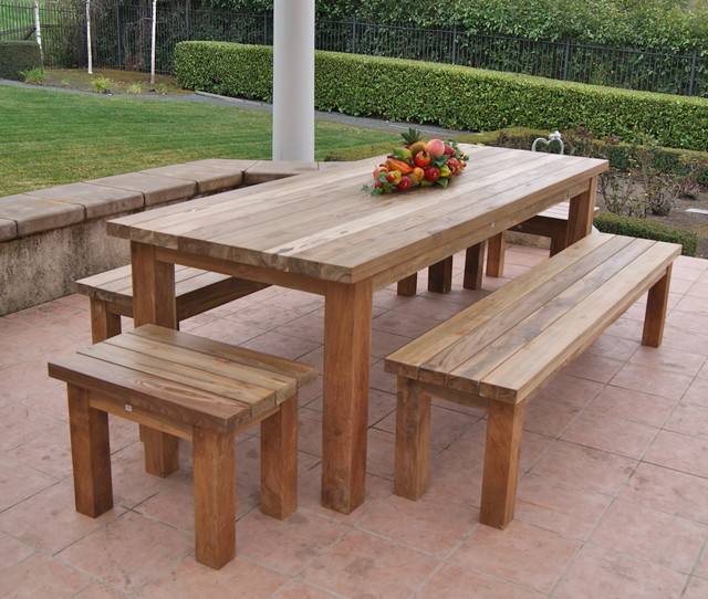 Reclaimed recycled teak patio furniture rustic patio for Teak outdoor furniture