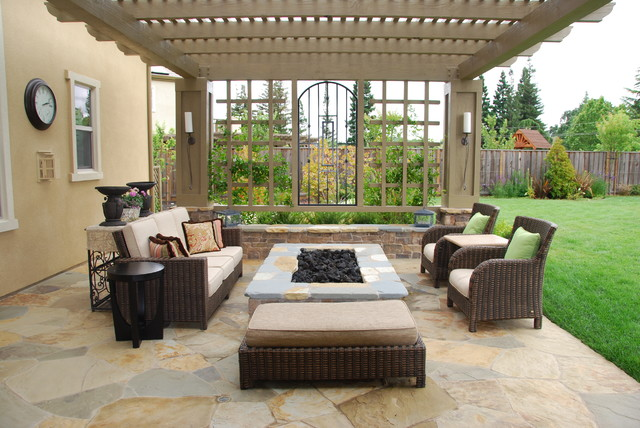 Inspiration For A Large Mediterranean Backyard Stone Patio Remodel In San  Francisco With A Fire Pit