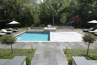 Rectangular Pool with Raised Spa Contemporary Patio Chicago