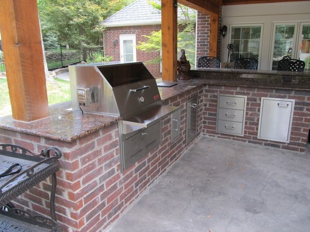 Red Brick Outdoor Kitchen - Traditional - Patio - Other - by ...