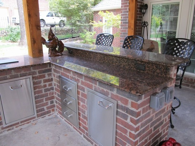Red brick outdoor kitchen for Outdoor kitchen brick design