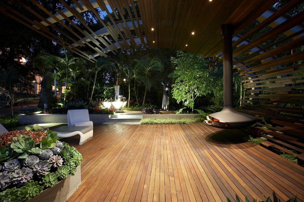 Patio - contemporary patio idea in Melbourne with a fire pit