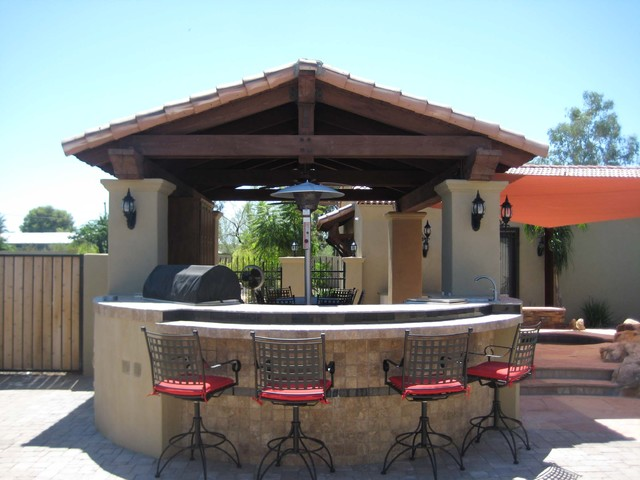 Remodel patio bbq mediterranean patio phoenix by for Outdoor bbq designs plans