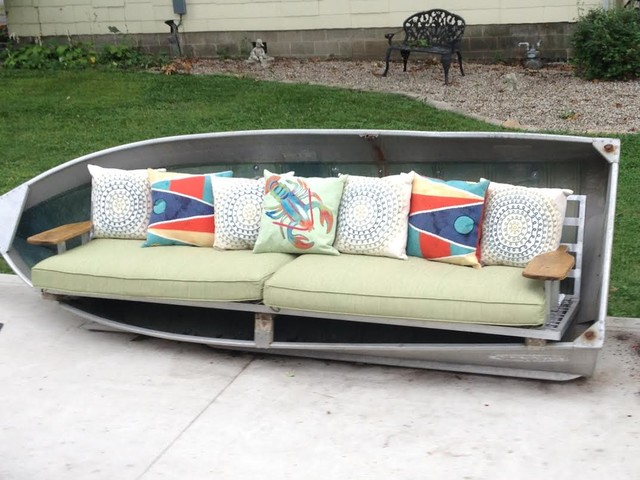 Repurpose An Aluminum Boat Into An Xl Sofa Maritim Uteplats