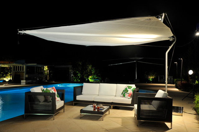 Retractable Shade Sail Contemporary Patio Houston
