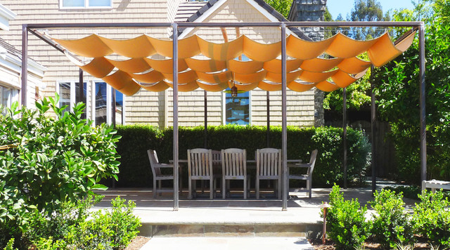 Retractable Sun Shade Covered Terrace Traditional Patio
