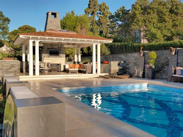 Rhode Island Backyard Pool Deck - Contemporary - Patio ...