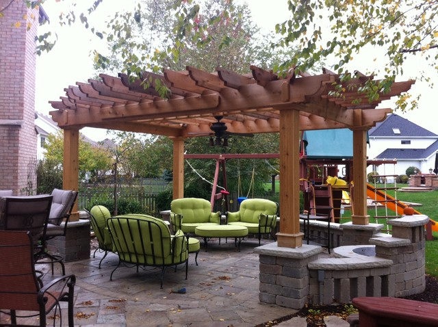 Rivenstone patio with fire pit and pergola traditional-patio