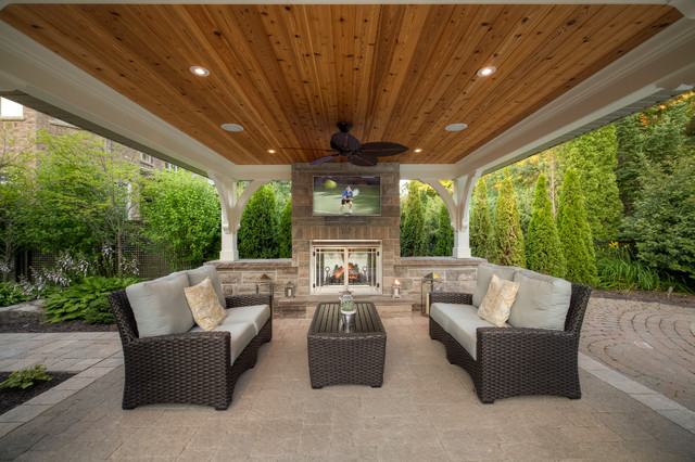 Backyard covered patios - Riverbank Way Project Transitional Patio Toronto By Cedar