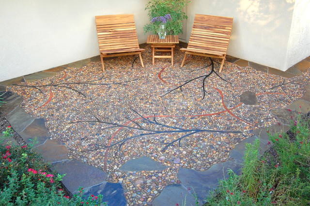 Riverside Pebble Patio Contemporary Patio Other