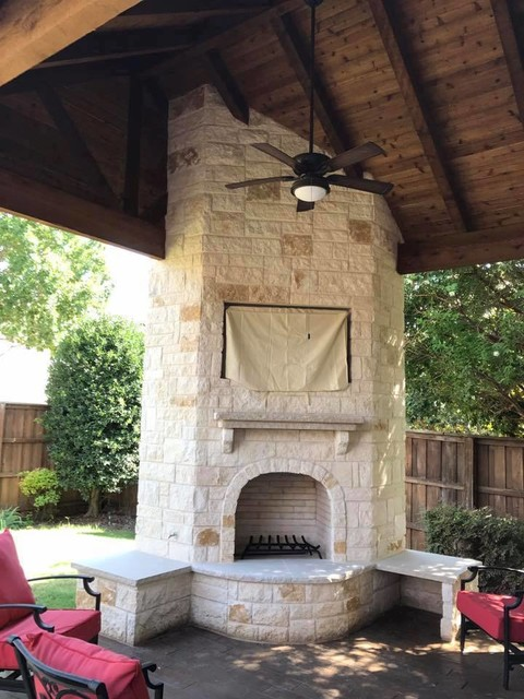 Rockwall Patio Cover With Corner Fireplace And Stamped Concrete